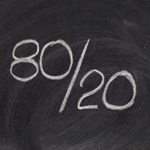 Pareto principle or eighty-twenty rule represented on a blackboard