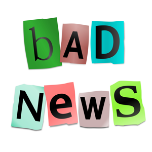Cutout letters arranged to form the words bad news