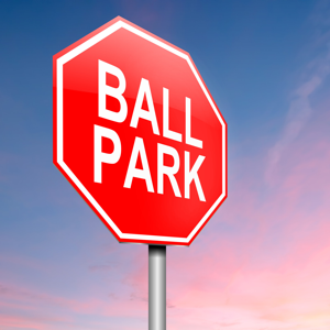 Red road sign reading ball park