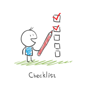 Checklist and pen