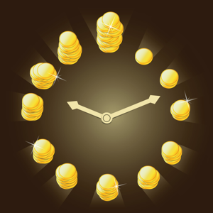 Clock with gold coins