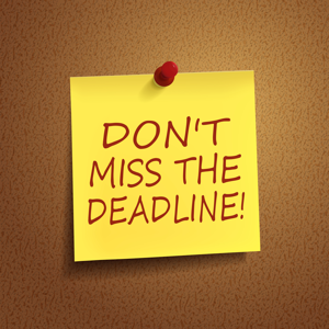 Sticky note reading, don't miss the deadline