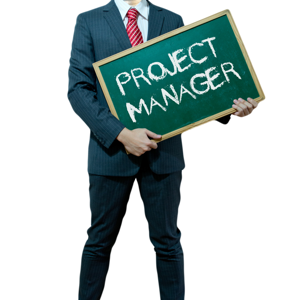 Businessman holding a board with Project Manager written on it