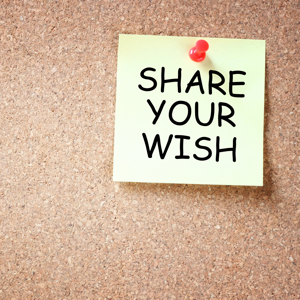 Yellow sticky note reading, share your wish