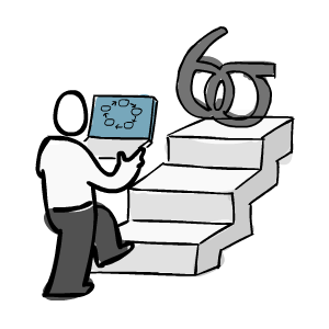 Man walking up stairs towards a Six Sigma symbol