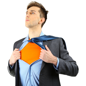 Project manager showing Superman suit under shirt